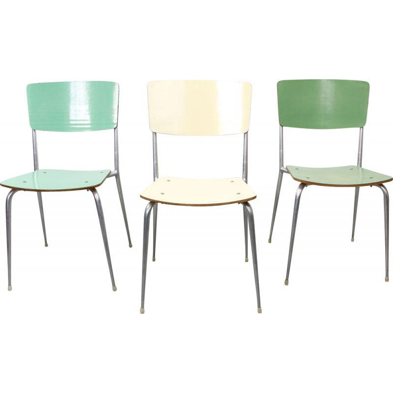 Set of 6 mid-Century green and cream dinning chairs