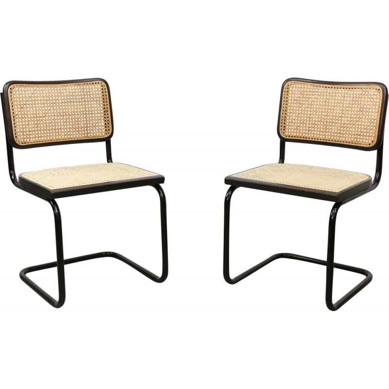 Pair of vintage S32 Cantilever Chair By Marcel Breuer Dark Edition 1980s