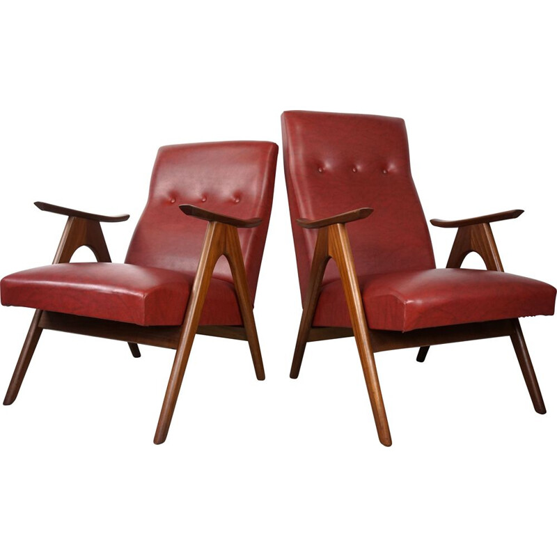Pair of vintage armchairs by Louis Van Teeffelen for Webe 1960s
