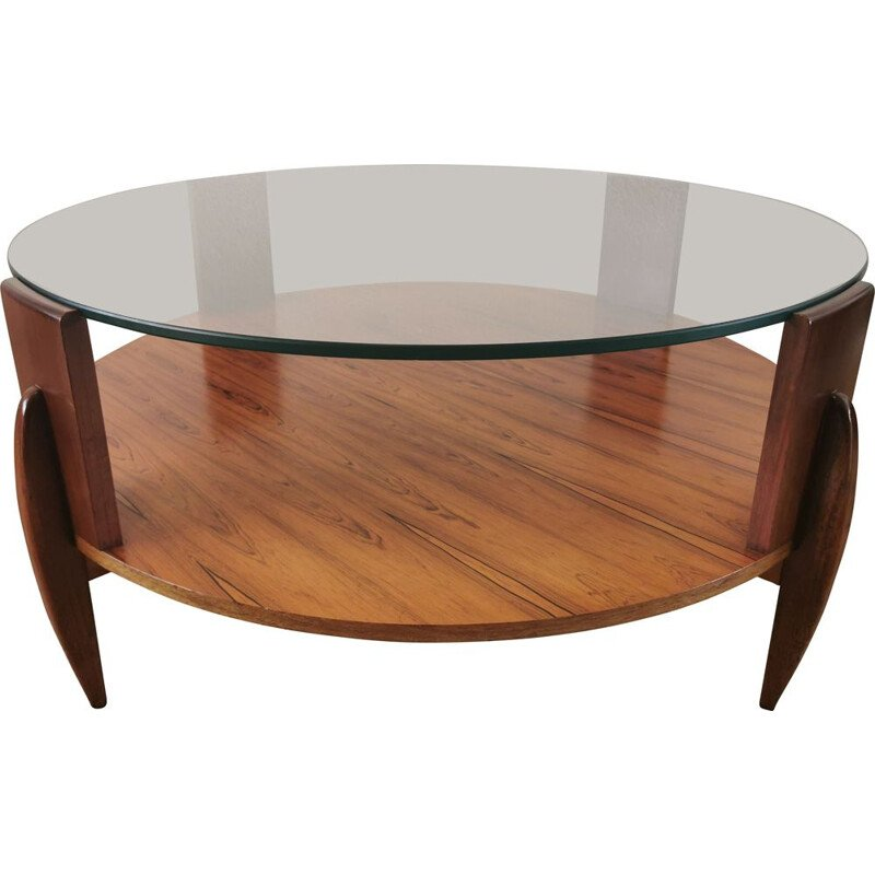 Vintage rosewood and teak coffee table by Ilse Möbel, Scandinavian 1960s