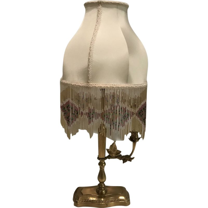 Vintage Brass Table Lamp with Silk Beaded Fringe Shade