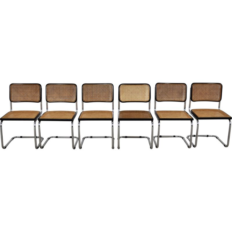 Set of 6 vintage Black Dinning Chairs B32 By Marcel Breuer