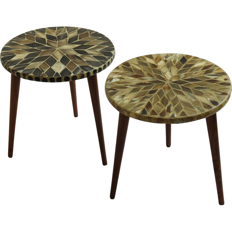 Pair of vintage 3 Legged Circular Mosaic Side Tables With Horn Inlaid Tops 1960s