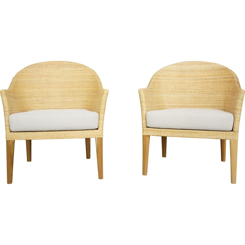 Pair of vintage teak and rattan armchairs