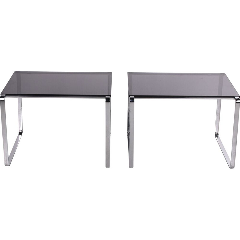 Pair of vintage side tables of chrome and smoked glass 1960s