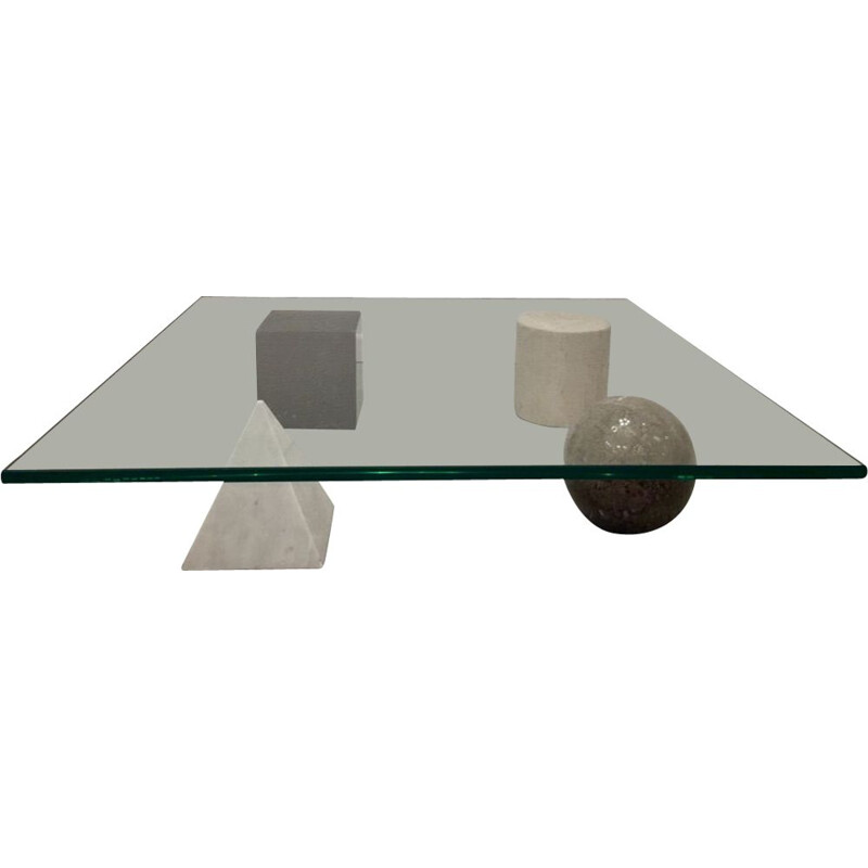 "Vintage coffee table ""Metaphora"" in glass and marble by Massimo Vignelli, Italy 1970s"