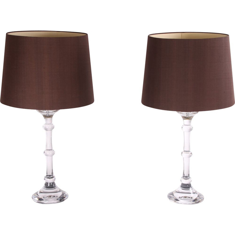 Pair of vintage Glass Table Lamps by Ingo Maurer for Design M, German 1970s