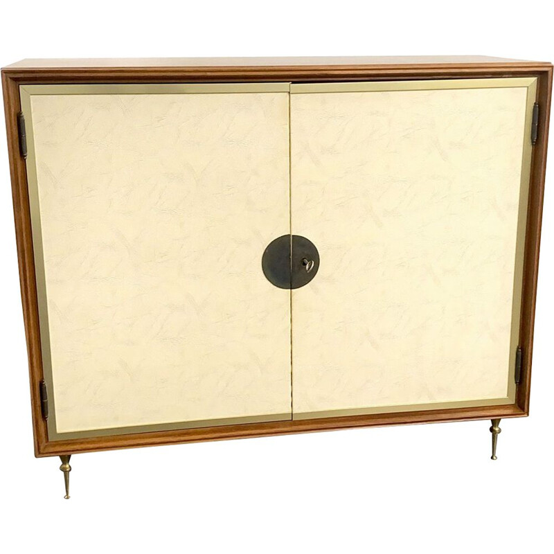 Mid-Century Bar Cabinet with Leather Brass Feet, Italy 1950s