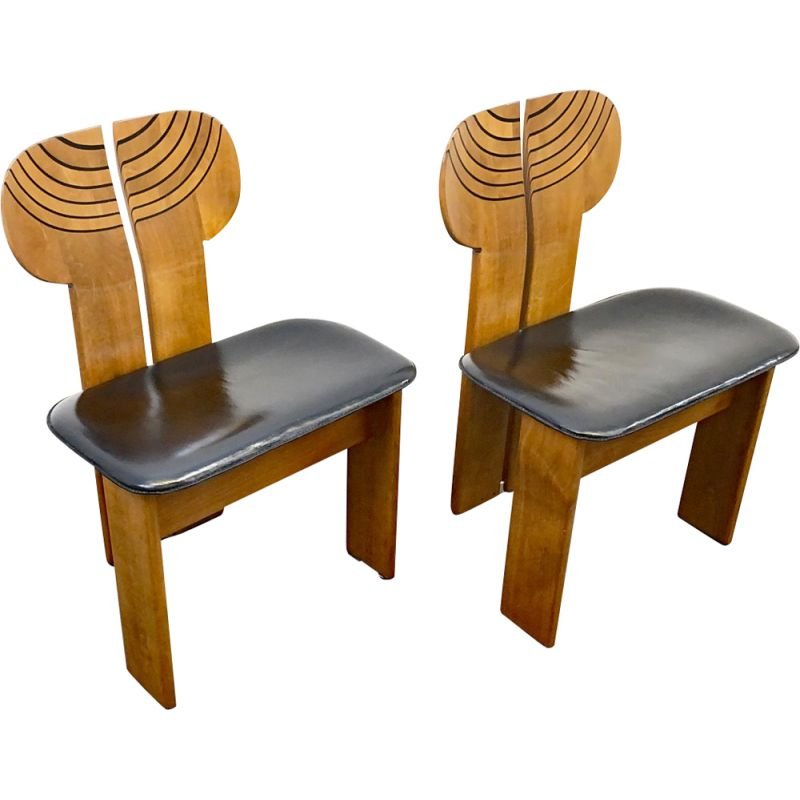 Pair of vintage Dining Chairs Africa Artona Series by Afra & Tobia Scarpa for Maxalto