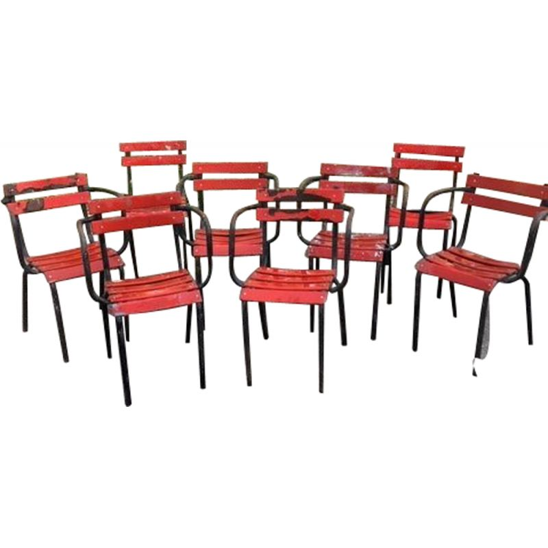 Set of 6 armchairs and 2 vintage metal chairs bistro style Tolix 1960