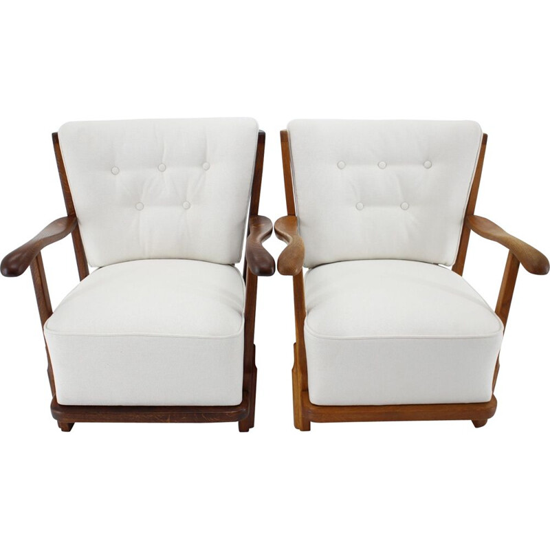 Pair of vintage oak armchairs, Denmark 1950