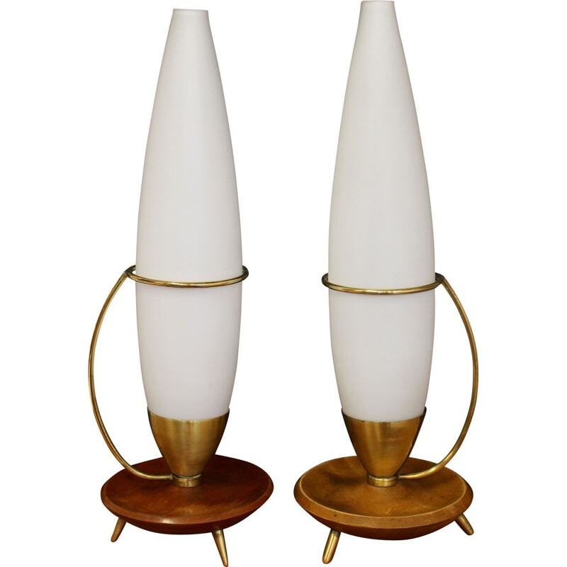 Pair of vintage tripod lamp in teak and brass Philips edition 1960s