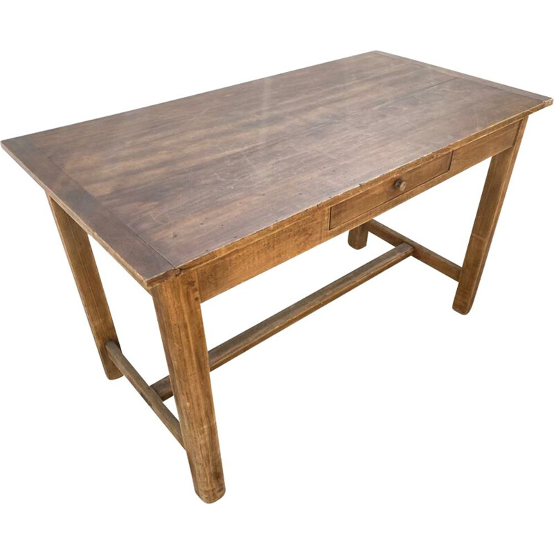 Vintage solid oak farm table with one drawer