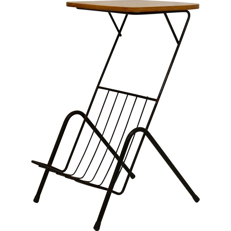 Vintage metal and wood side table with magazine rack 1950