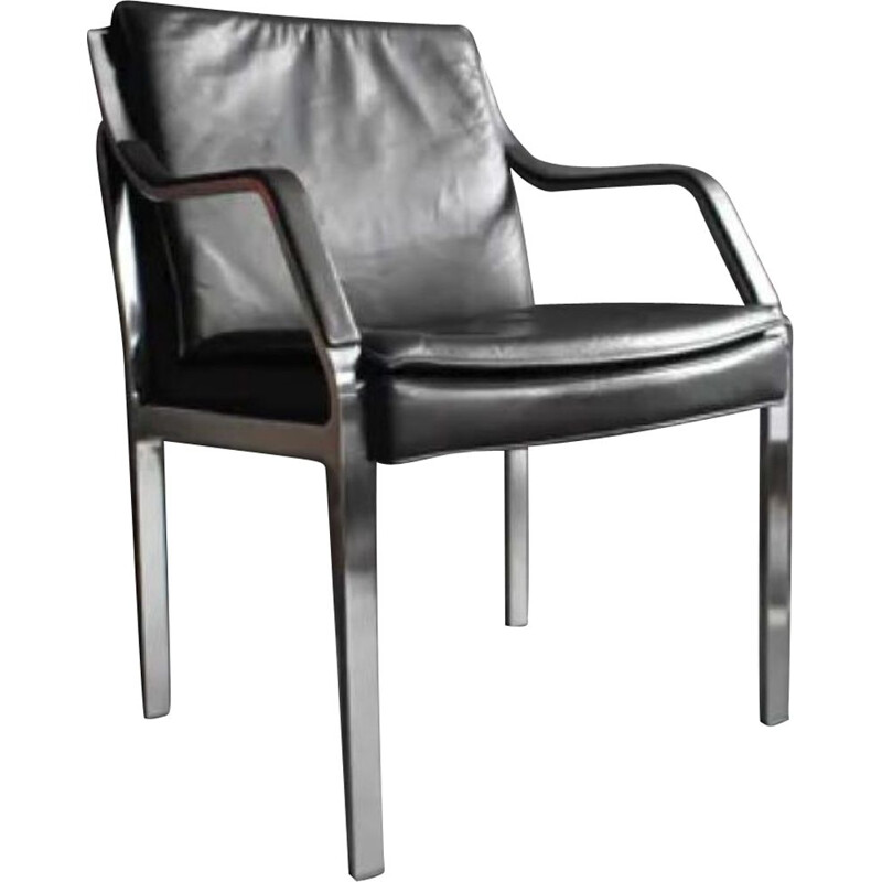 Vintage Art Collection Leather Lounge Chair from Knoll , Germany