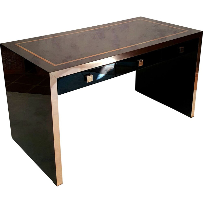 Vintage lacquered wood and brass desk by Jean Claude Mahey for La Maison Roméo 1970
