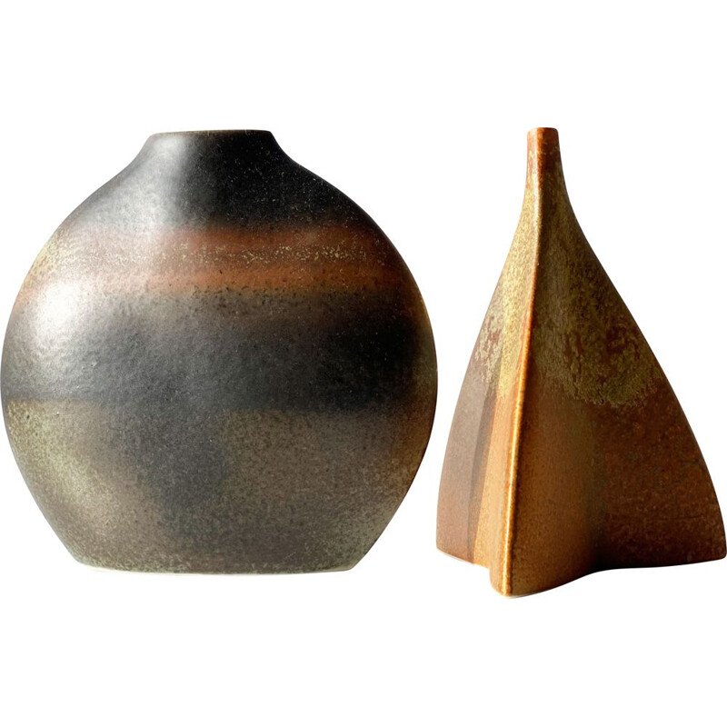 Pair of vintage ceramic vases by Jacques Bucholtz for Virebent, France 1970