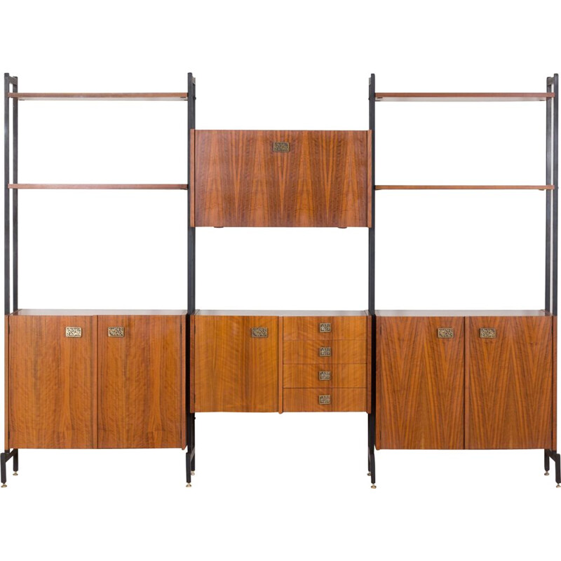 Vintage walnut wall unit by Luciano Frigerio, Italy