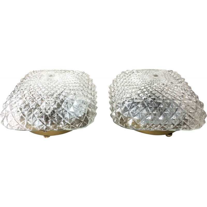 Pair of vintage Globe glass table lamps