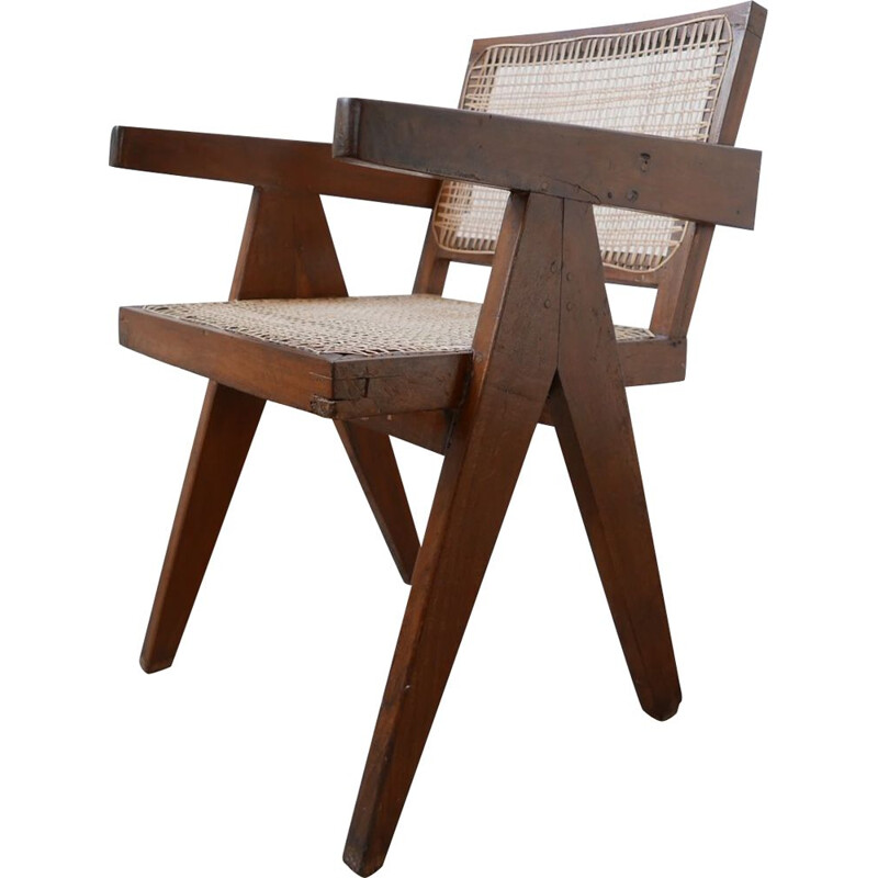Vintage Teak and Cane Chandigarh Office Chair by Pierre Jeanneret, France 1956s