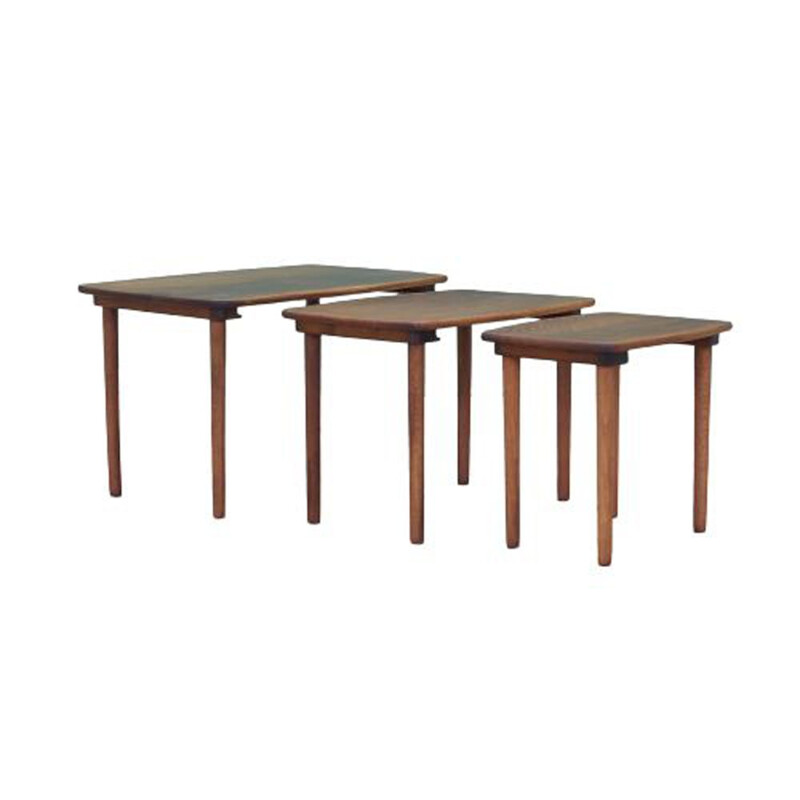 Set of 3 vintage walnut coffee tables, Denmark 1960s