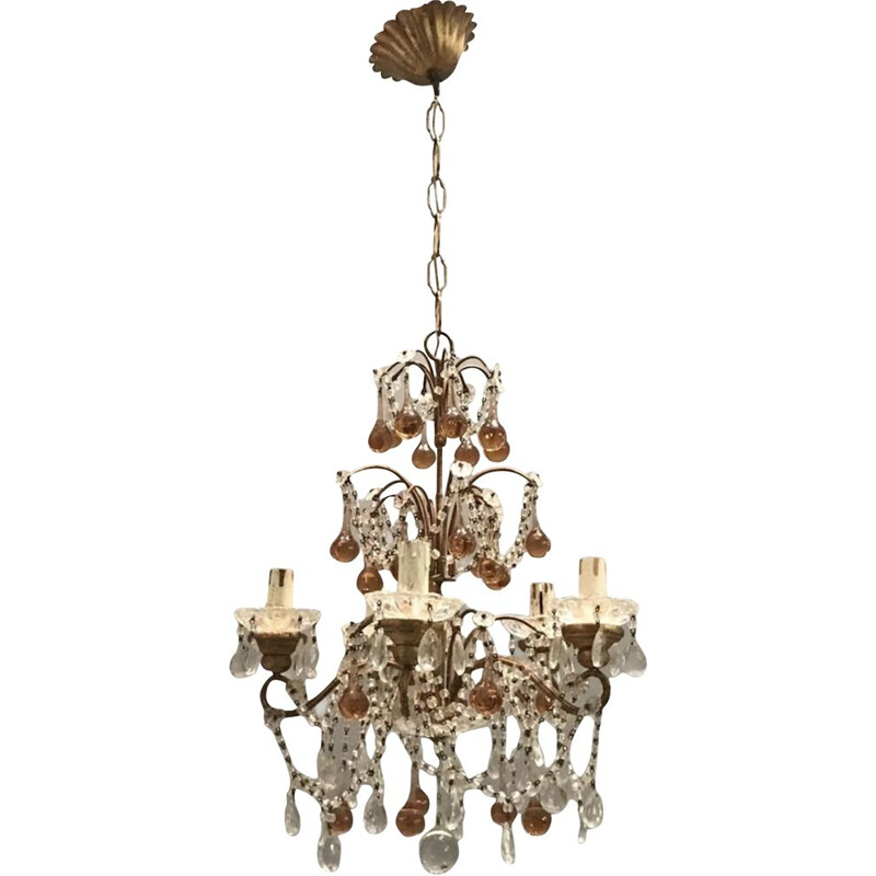 Vintage crystal chandelier in Murano rose caramel glass for macaroni