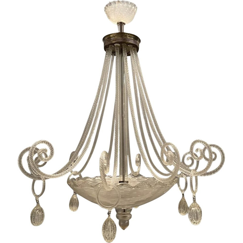 Large vintage Chandelier by Ercole Barovier Art Deco 1940s