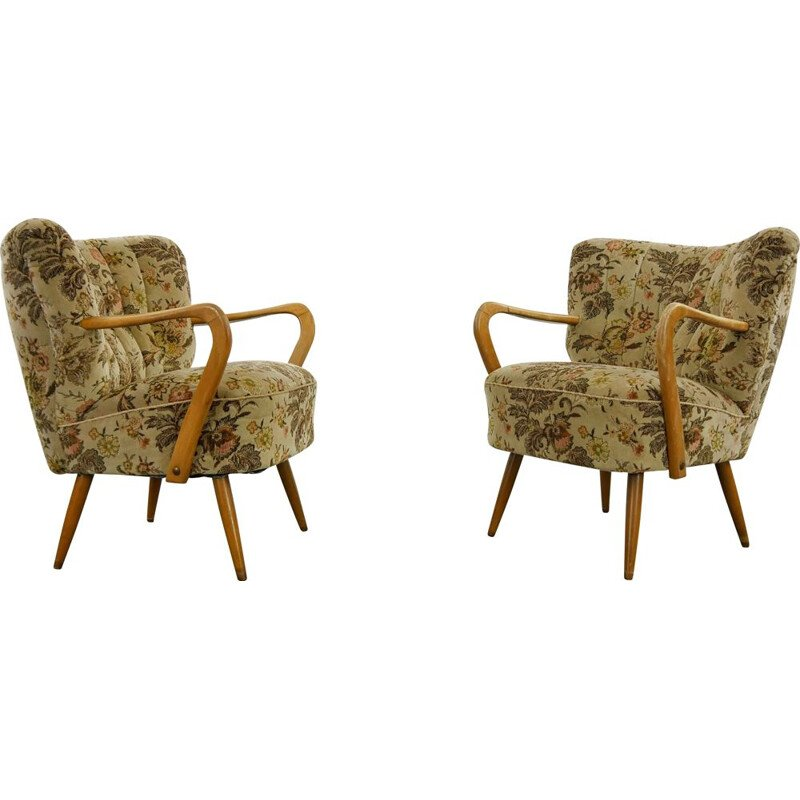Pair of vintage Cocktail Club Chairs with Armrests 1950s