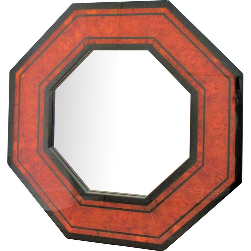 Vintage octagonal mirror in wood and wood burl by Jean-Claude Mahey 1970s