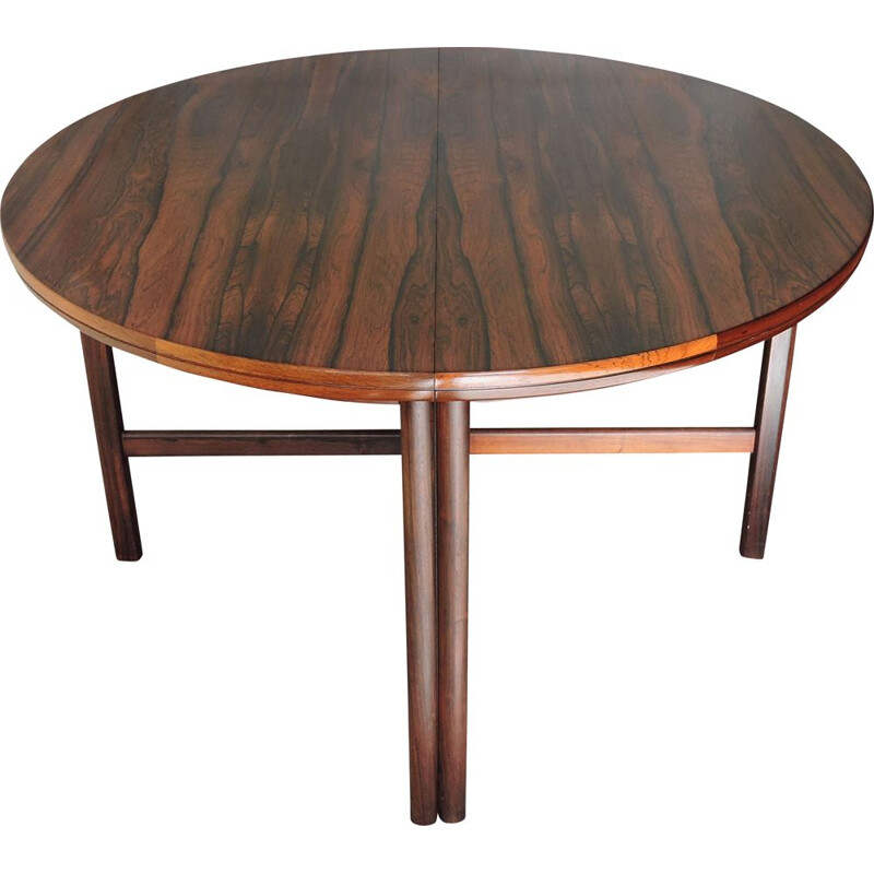 Vintage Round Extendable Rosewood Dining Table 1960s