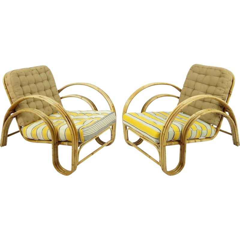 Pair of vintage rattan lounge chairs, Dutch 1960s