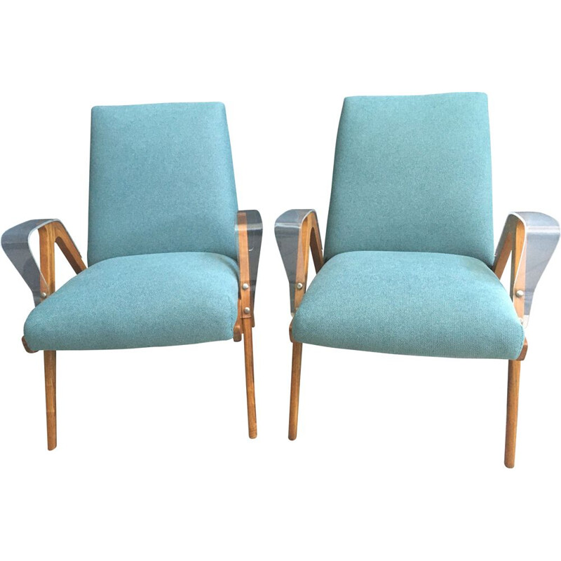 Pair of vintage Green Tatra chairs by Frantisak Jirak, Czechoslovakia 1960s