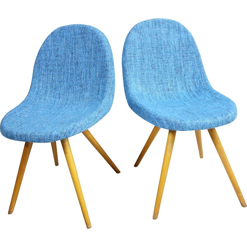 Pair of vintage Blue Miroslav Navratil chairs, Czechoslovakia 1960s