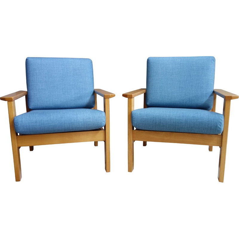 Pair of vintage Blue armchairs 1960s