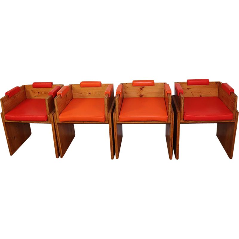 Lot of 4 vintage pine armchairs 1960s