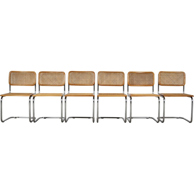 Set of 6 vintage Dinning chairs B32 by Marcel Breuer