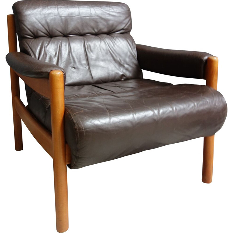 Vintage Brown Leather armchair 1970s