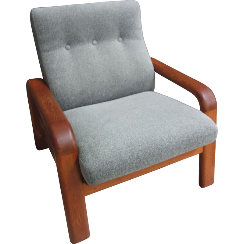 Vintage Teak and Gray relax chair by Dyrlund, Denmark 1970s
