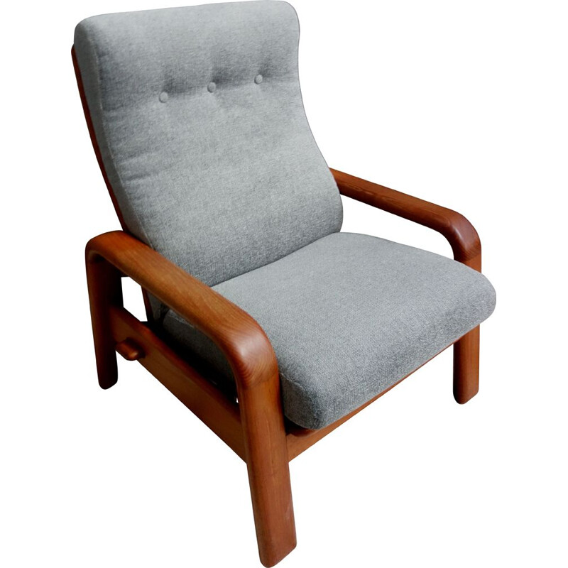 Vintage Teak and Grey highback chair by Dyrlund, Denmark 1970s