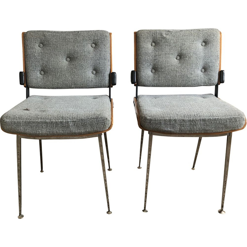 Pair of vintage 704 Modern tube chairs by Alain Richard 1960s