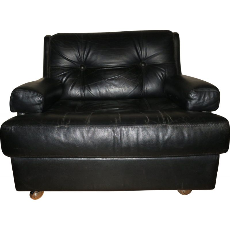 Vintage Black Leather Lounge Chair from Dux, Sweden 1960s