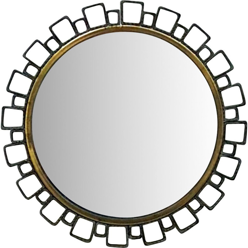Vintage Cast iron illuminated mirror by Hillebrand, Germany 1960s