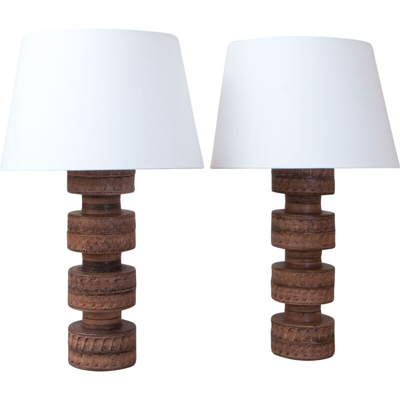 Pair of vintage ceramics table lamps, Denmark 1970s