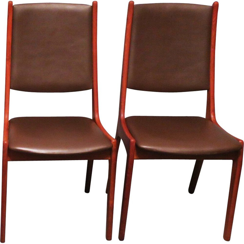 Pair of vintage Dining Chairs Teak and Leather KS Mobler for Korup Stolefabrik, Danish 1960s