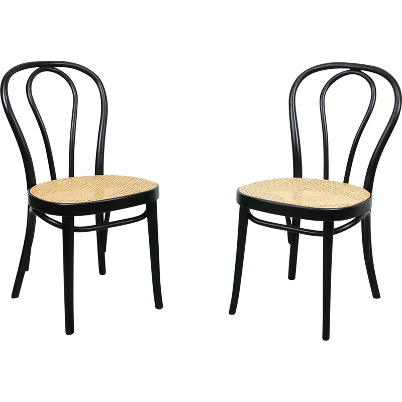 Pair of vintage N218 Black Chairs by Michael Thone