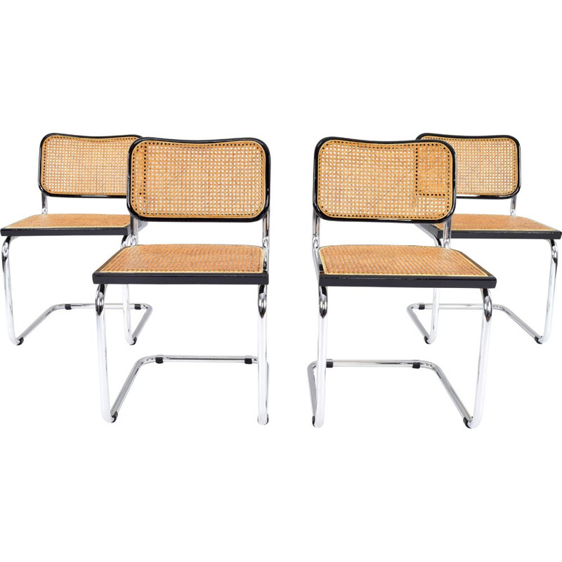 Set of 4 vintage B32 Cesca chairs by Cidue Marcel Breuer, Italy 1970s