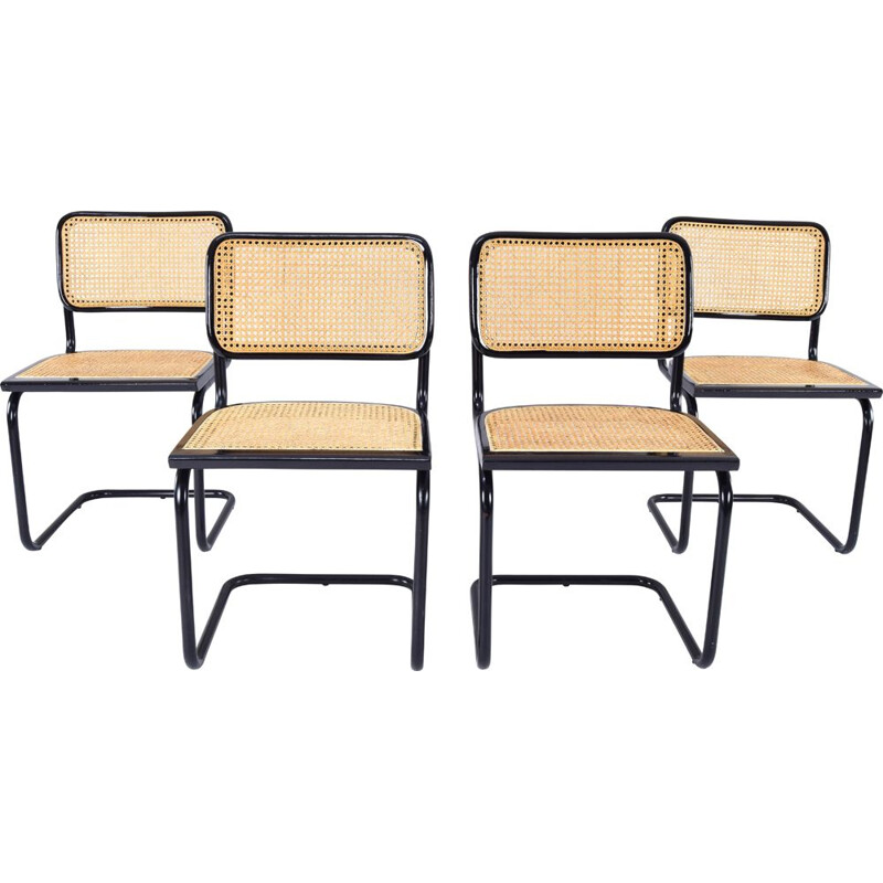 Set of 4 vintage B32 Cesca modern black chairs by Marcel Breuer, Italy 1970s
