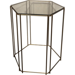 Side table in brass and smoked glass, Max SAUZE - 1970s