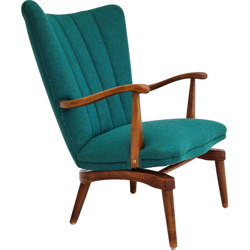 Vintage armchair with tilt function furniture fabric, Danish 1960s