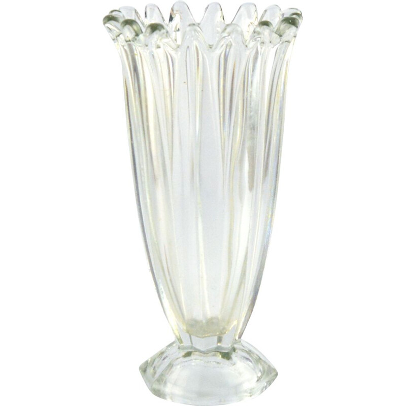 Vintage Glass vase from Hortensja Glassworks, Poland 1960s